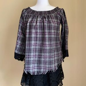 Muche Et Muchette Off Shoulder  Plaid Top Size S